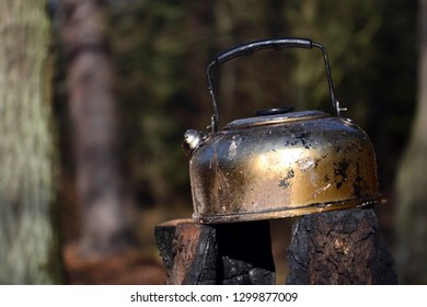 Tin tea kettle stands on spent swedish fire torch in forest, fallen leaves nature background, sunny autumn day