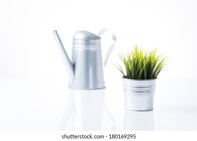 Tin watering can and tin pot with beautiful green grass