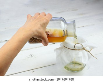 Tincture from dried nettle roots and alcohol.   Urtica diocica, curative herb tincture is good for hair growing and regeneration. Help against hair loss.