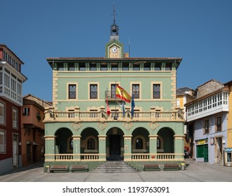 TINEO, SPAIN - AUGUST 21, 2018: Town hall in the city center of Tineo during summer evening on August 21, 2018 in Asturias, Spain