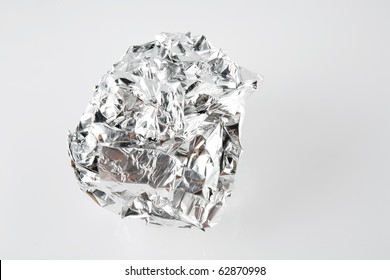 Tinfoil Ball Isolated on White Background