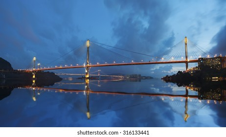 Ting Kau Bridge and Tsing Ma Bridge in Hong Kong.
