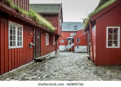 Tinganes with old parliament buildings in Torshavn, Faroe islands.