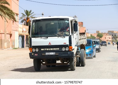 Tinghir, Morocco - September 24, 2019: Old dump truck Mitsubishi Fuso FK in the city street.