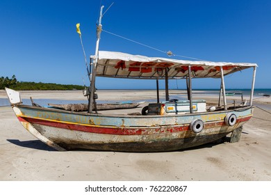 Tinhare Island Brazil, Fishing boat docked on sand beach during low tide, summer 2015