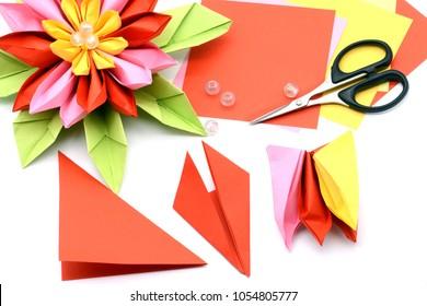 Basteln Sie eine bunte Papierwasserlilie. Origami auf weißem, isoliertem Hintergrund.