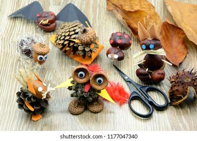 tinker creative chestnut figures in autumn like owl snail squirrel rabbit.