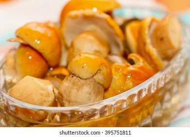 tinned cepes in a crystal salad bowl
