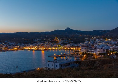 Tinos island at Cyclades, Greece in the evening