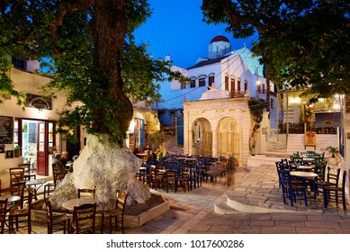 TINOS ISLAND, GREECE- May 18, 2008. The central square of Pyrgos village, probably the most beautiful of the island, Cyclades, Aegean sea.