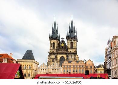 Tinska church in old town square in Prague