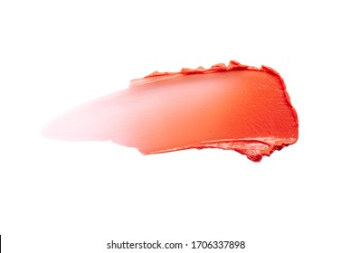 Tint or blusher, lip balm pink red smudge isolated on white texture