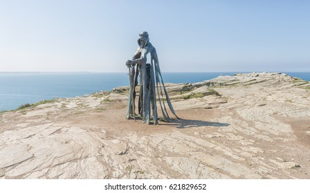 Tintagel, Cornwall, England - 7 April 2017: A sculpture of King Arthur (called Gallos) by sculptor Rubin Eynon has been on display since April 2016.