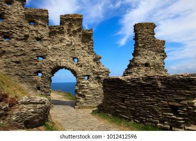 Tintagel (England), UK - August 10, 2015: Tintagel ruins, Cornwall, United Kingdom.