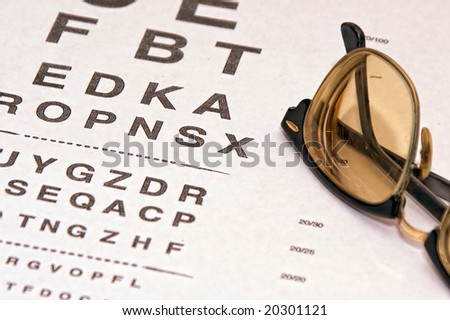dfcb3b56380 tinted lenses in old fashioned eye glass frame resting on eyechart