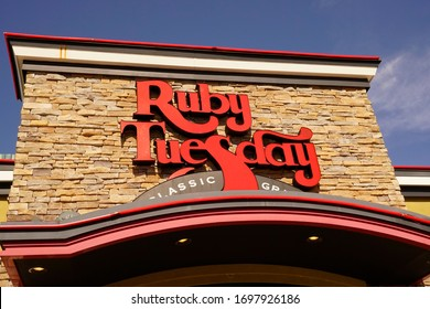 Tinton Falls, NJ / USA - April 3, 2020: American casual dining restaurant chains like Ruby Tuesday are working to keep up with changing consumer tastes and comply with social distancing requirements.