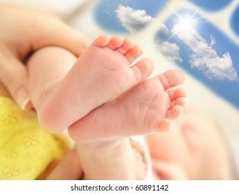Tiny baby feet