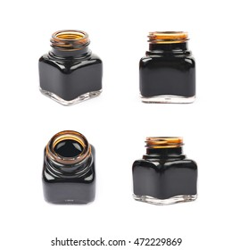 Tiny bottle filled with the black ink, composition isolated over the white background, set of four different foreshortenings