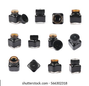 Tiny bottle filled with the black ink, composition isolated over the white background, set of twelve different foreshortenings