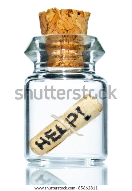 tiny bottle with help message