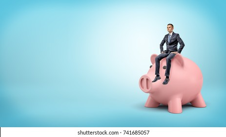 A tiny businessman calmly sits on a giant piggy bank's head on blue background. Account holder. Large savings. Money keeper.