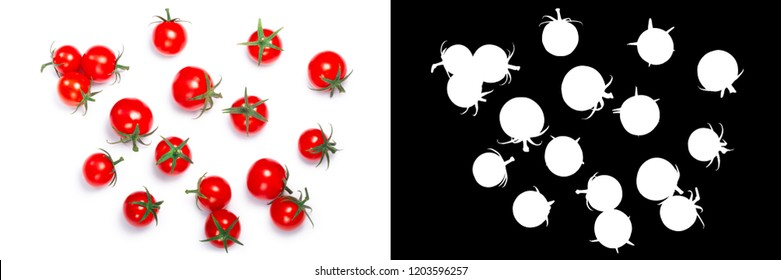 Tiny cherry tomatoes (ciliegini, pachino, cocktail). Clipping paths, shadows separated, top view