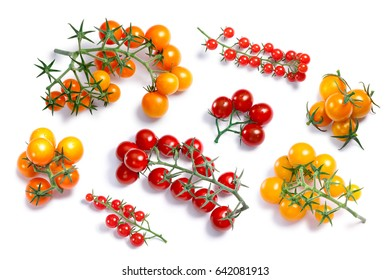 Tiny cherry tomatoes, different cultivars (Pachino, Ciliegini, Currant), top view. Clipping paths for each object, shadows separated