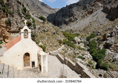 The tiny church of St Nicholas in the Kourtaliotiko Gorge, southern Crete, marking the point at which a spring provides water, even in summer.