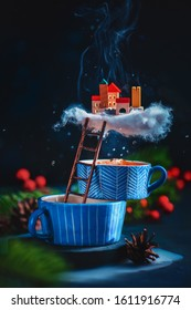 Tiny city on a cloud of tea steam, magical world in creative food photo
