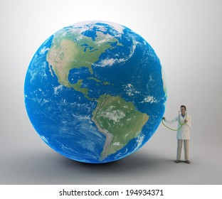 Tiny doctor examining the Earth