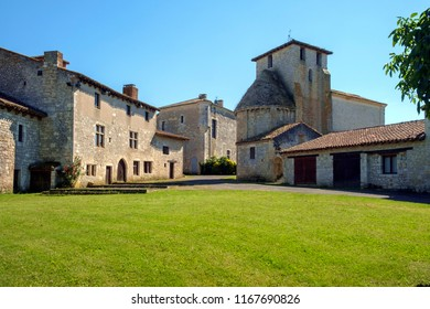 The tiny fortified village of Frespech seems deserted of people on a sunny early summer afternoon in rural Lot et Garonne, France