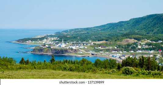 The tiny Gaspe (Quebec) village of Petite Valle can be seen from the coastal road.