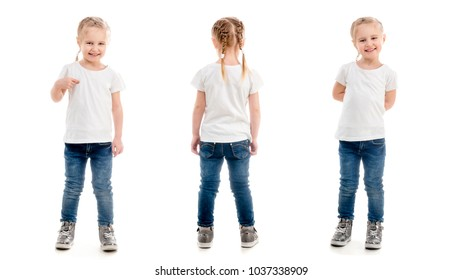 Tiny girl standing pointing at herself, isolated