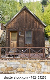 Tiny house constructed of old wood, in Telluride, Colorado