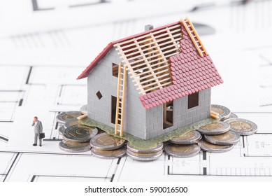 Tiny house stands on coins. The concept of banking, loans, expenses.