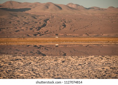 Tiny little bus reflected on water on a huge and beautiful landscape of the driest desert on Earth, San Pedro de Atacama.