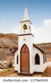Tiny Little Church in a desolate place on the Dinosaur Trail in Drumheller, Alberta, Canada.