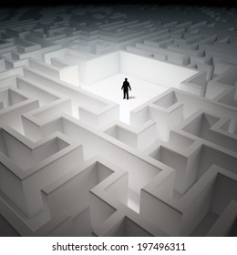 Tiny man inside an endless maze