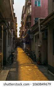 Tiny narrow streets of the walled village of Kat Hing Wai near Hong Kong in the morning