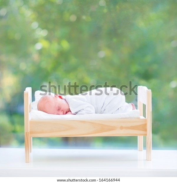 Tiny Newborn Baby Sleeping Toy Bed Royalty Free Stock Image
