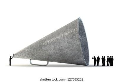 Tiny people communicating through a vintage megaphone