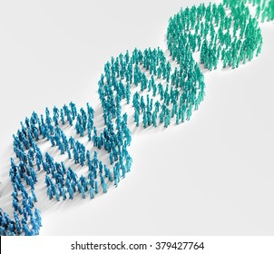 Tiny people forming a DNA helix symbol - genetics research and population wide genetic traits concept
