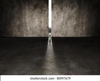 tiny person walking through a gap