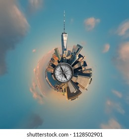 Tiny planet from an aerial photograph of Manhattan, New York, USA