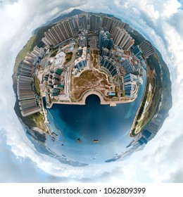 Tiny planet effect of Hong Kong City