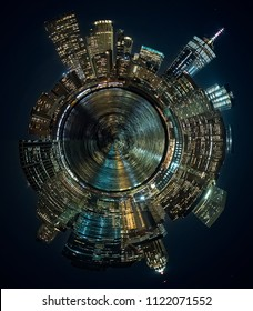 Tiny planet photography, panoramic view of the skyscrapers of Manhattan in New York, from the Brooklyn area