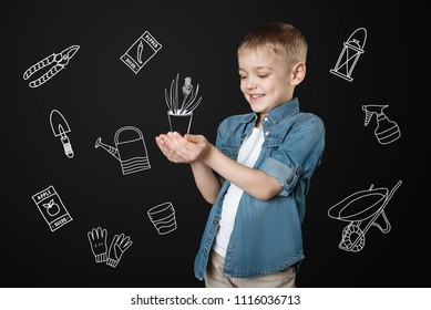 Tiny plant. Positive enthusiastic little boy growing flowers and feeling impressed while holding a little flowerpot with a tiny plant and kindly looking at it