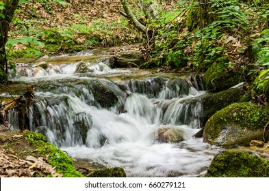 tiny river cascade waterfall into the forest