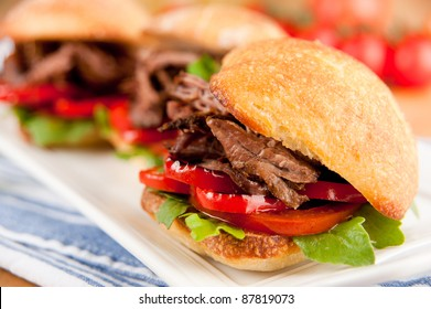 Tiny Slider Sandwiches with Pulled Beef and Red Bell Peppers