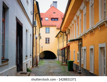 Tiny street in Celje old town in Slovenia. Architecture in Slovenija. Travel